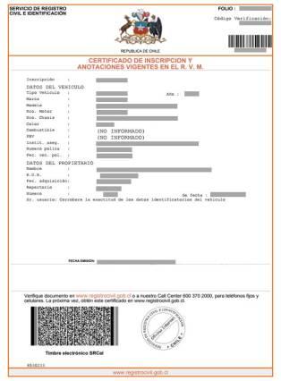Certificado Registro Vehículos Motorizados Registro Civil Chile